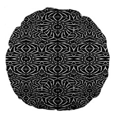 Black and White Tribal Pattern Large 18  Premium Flano Round Cushions