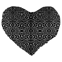 Black and White Tribal Pattern Large 19  Premium Flano Heart Shape Cushions