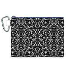 Black and White Tribal Pattern Canvas Cosmetic Bag (XL)