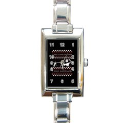 I Wasn t Good This Year, I Was Awesome! Ugly Holiday Christmas Black Background Rectangle Italian Charm Watch