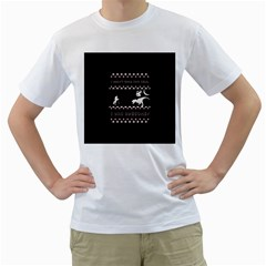 I Wasn t Good This Year, I Was Awesome! Ugly Holiday Christmas Black Background Men s T-Shirt (White) (Two Sided)