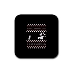 I Wasn t Good This Year, I Was Awesome! Ugly Holiday Christmas Black Background Rubber Square Coaster (4 pack)