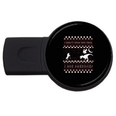 I Wasn t Good This Year, I Was Awesome! Ugly Holiday Christmas Black Background USB Flash Drive Round (1 GB)