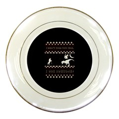 I Wasn t Good This Year, I Was Awesome! Ugly Holiday Christmas Black Background Porcelain Plates