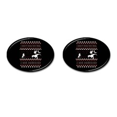 I Wasn t Good This Year, I Was Awesome! Ugly Holiday Christmas Black Background Cufflinks (Oval)