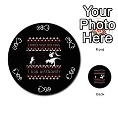 I Wasn t Good This Year, I Was Awesome! Ugly Holiday Christmas Black Background Playing Cards 54 (Round)