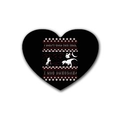 I Wasn t Good This Year, I Was Awesome! Ugly Holiday Christmas Black Background Rubber Coaster (Heart)