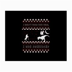 I Wasn t Good This Year, I Was Awesome! Ugly Holiday Christmas Black Background Small Glasses Cloth (2-Side)