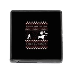 I Wasn t Good This Year, I Was Awesome! Ugly Holiday Christmas Black Background Memory Card Reader (square)