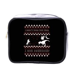 I Wasn t Good This Year, I Was Awesome! Ugly Holiday Christmas Black Background Mini Toiletries Bags
