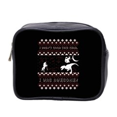 I Wasn t Good This Year, I Was Awesome! Ugly Holiday Christmas Black Background Mini Toiletries Bag 2 Side