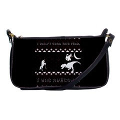 I Wasn t Good This Year, I Was Awesome! Ugly Holiday Christmas Black Background Shoulder Clutch Bags