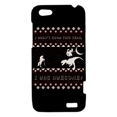 I Wasn t Good This Year, I Was Awesome! Ugly Holiday Christmas Black Background HTC One V Hardshell Case