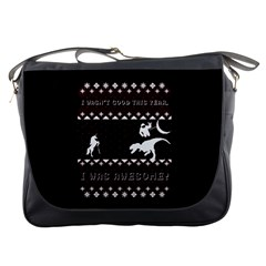 I Wasn t Good This Year, I Was Awesome! Ugly Holiday Christmas Black Background Messenger Bags