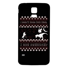 I Wasn t Good This Year, I Was Awesome! Ugly Holiday Christmas Black Background Samsung Galaxy S5 Back Case (White)