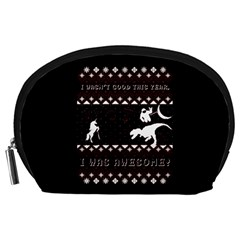 I Wasn t Good This Year, I Was Awesome! Ugly Holiday Christmas Black Background Accessory Pouches (Large)