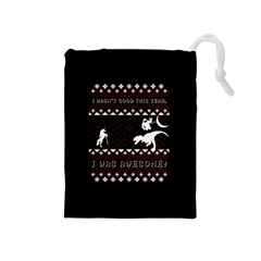 I Wasn t Good This Year, I Was Awesome! Ugly Holiday Christmas Black Background Drawstring Pouches (Medium)