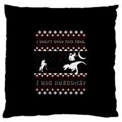I Wasn t Good This Year, I Was Awesome! Ugly Holiday Christmas Black Background Standard Flano Cushion Case (Two Sides)