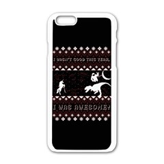 I Wasn t Good This Year, I Was Awesome! Ugly Holiday Christmas Black Background Apple Iphone 6/6s White Enamel Case