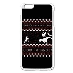 I Wasn t Good This Year, I Was Awesome! Ugly Holiday Christmas Black Background Apple iPhone 6 Plus/6S Plus Enamel White Case
