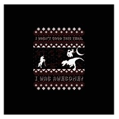 I Wasn t Good This Year, I Was Awesome! Ugly Holiday Christmas Black Background Large Satin Scarf (Square)