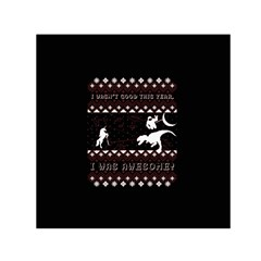 I Wasn t Good This Year, I Was Awesome! Ugly Holiday Christmas Black Background Small Satin Scarf (Square)