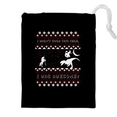 I Wasn t Good This Year, I Was Awesome! Ugly Holiday Christmas Black Background Drawstring Pouches (XXL)