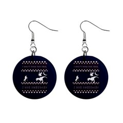 I Wasn t Good This Year, I Was Awesome! Ugly Holiday Christmas Blue Background Mini Button Earrings