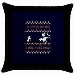 I Wasn t Good This Year, I Was Awesome! Ugly Holiday Christmas Blue Background Throw Pillow Case (Black)