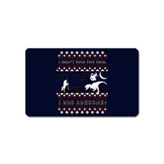 I Wasn t Good This Year, I Was Awesome! Ugly Holiday Christmas Blue Background Magnet (name Card)