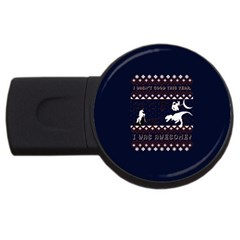 I Wasn t Good This Year, I Was Awesome! Ugly Holiday Christmas Blue Background Usb Flash Drive Round (2 Gb)