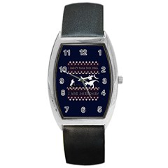 I Wasn t Good This Year, I Was Awesome! Ugly Holiday Christmas Blue Background Barrel Style Metal Watch