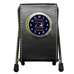 I Wasn t Good This Year, I Was Awesome! Ugly Holiday Christmas Blue Background Pen Holder Desk Clocks