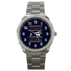 I Wasn t Good This Year, I Was Awesome! Ugly Holiday Christmas Blue Background Sport Metal Watch