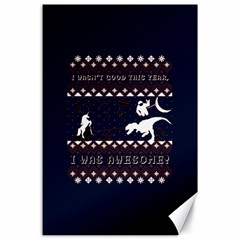 I Wasn t Good This Year, I Was Awesome! Ugly Holiday Christmas Blue Background Canvas 24  x 36