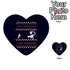 I Wasn t Good This Year, I Was Awesome! Ugly Holiday Christmas Blue Background Multi-purpose Cards (Heart)