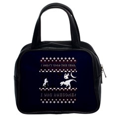 I Wasn t Good This Year, I Was Awesome! Ugly Holiday Christmas Blue Background Classic Handbags (2 Sides)