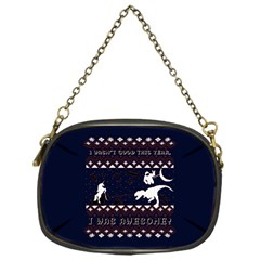 I Wasn t Good This Year, I Was Awesome! Ugly Holiday Christmas Blue Background Chain Purses (One Side)