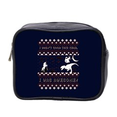 I Wasn t Good This Year, I Was Awesome! Ugly Holiday Christmas Blue Background Mini Toiletries Bag 2-Side