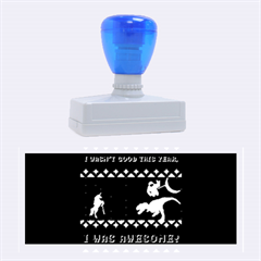 I Wasn t Good This Year, I Was Awesome! Ugly Holiday Christmas Blue Background Rubber Stamps (Large)