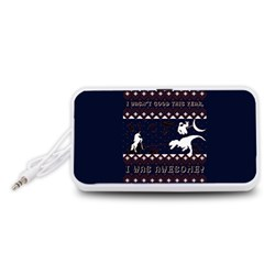 I Wasn t Good This Year, I Was Awesome! Ugly Holiday Christmas Blue Background Portable Speaker (White)