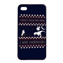 I Wasn t Good This Year, I Was Awesome! Ugly Holiday Christmas Blue Background Apple iPhone 4/4s Seamless Case (Black)