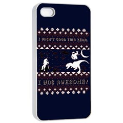 I Wasn t Good This Year, I Was Awesome! Ugly Holiday Christmas Blue Background Apple Iphone 4/4s Seamless Case (white)