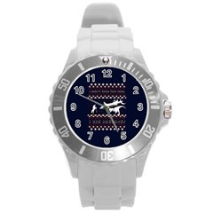 I Wasn t Good This Year, I Was Awesome! Ugly Holiday Christmas Blue Background Round Plastic Sport Watch (L)
