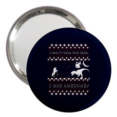I Wasn t Good This Year, I Was Awesome! Ugly Holiday Christmas Blue Background 3  Handbag Mirrors