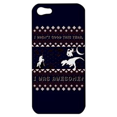 I Wasn t Good This Year, I Was Awesome! Ugly Holiday Christmas Blue Background Apple Iphone 5 Hardshell Case