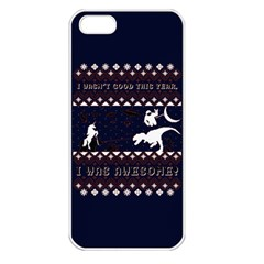 I Wasn t Good This Year, I Was Awesome! Ugly Holiday Christmas Blue Background Apple Iphone 5 Seamless Case (white)
