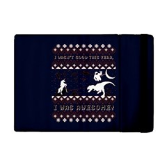 I Wasn t Good This Year, I Was Awesome! Ugly Holiday Christmas Blue Background Apple iPad Mini Flip Case