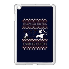 I Wasn t Good This Year, I Was Awesome! Ugly Holiday Christmas Blue Background Apple iPad Mini Case (White)