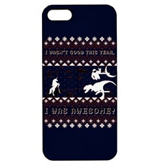 I Wasn t Good This Year, I Was Awesome! Ugly Holiday Christmas Blue Background Apple Iphone 5 Hardshell Case With Stand